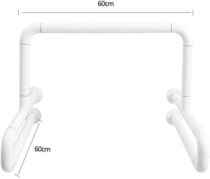 浴槽手すり トイレ安全フレームトイレハンドルトイレは、トイレのサポート手すり、304ステンレス鋼、ノンスリップナイロン用レール 介護ケア用品 (Color : White, Size : 60x60cm)