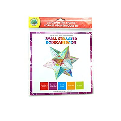 Set of 4- Three Dimesional Geometric Shape Kits (Icosahedron, Dodecahedron, Rhombicuboctahedron, Small Stellated Dodecahedron by Teaching Tree: Toys & Games