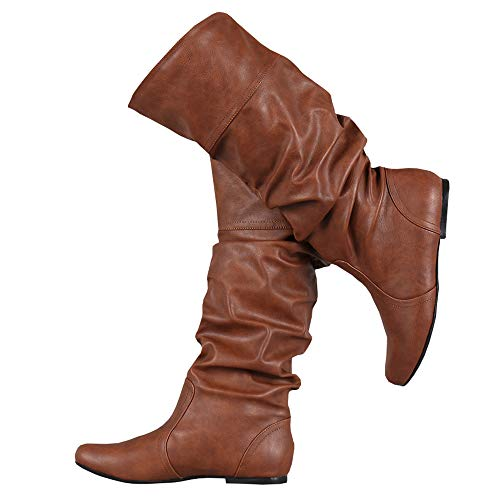 PASLTER Womens Slouchy Flat Knee High Boot Wide Calf Round Toe Boots Riding Shoes Brown