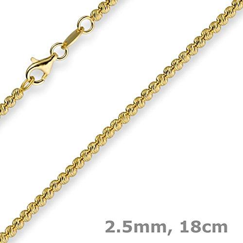 2,5mm Bracelet billes Chaîne Chaîne à boules en or jaune 58518cm Bracelet en or