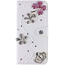 Samsung Galaxy Win Pro G3812 Case, iNenk® PU Leather Purse Case w/Card ID Holder White Luxury 3D Fashion Handmade Glitter Bling Diamond Pearl Flip Crystal Wallet Card Pouch Stand Cover-Pink Flower