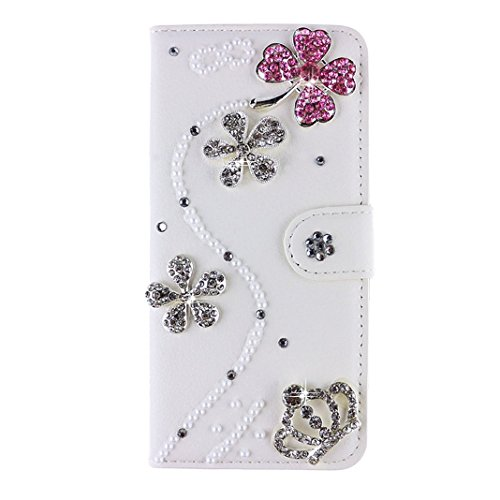 Price comparison product image Huawei Honor 6 Plus / 6x Case,  iNenk® PU Leather Purse Case w / Card ID Holder White Luxury 3D Fashion Handmade Glitter Bling Diamond Pearl Flip Crystal Wallet Card Pouch Stand Cover-Pink Flower