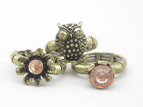 New 3 Piece Owl Daisy Stone Antiqued Style Stretch Ring Set - Daisy Stretch Ring