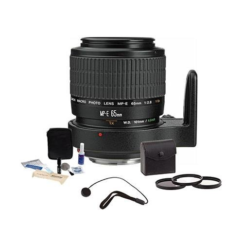 Canon MP-E 65mm f/2.8 1-5x Macro Photo Manual Focus Telephoto Lens Kit, USA - Bundle with Pro Optic 58mm Digital Essentials Filter Kit, Lens Cap Leash, Professional Lens Cleaning Kit