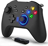 Wireless & Wired 2 in 1 Gaming Controller, Dual-Vibration Joystick Gamepad Computer Game Controller for PC