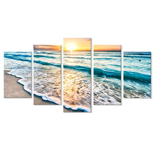 7CANVAS 5 Pieces Sea Sunset Modern Wall Art Set Seascape Beach Canvas Print Large Horizontal Landscape Wall Picture Multi Panel Ocean Split Giclee Print for Living Room Dining Room Wall Decor (Art Wall Large Beach)