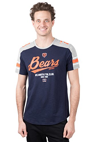 Chicago Bears Crew Shirt - NFL Men's Chicago Bears T-Shirt Vintage Varsity Stripe Short Sleeve Tee Shirt, X-Large, Blue