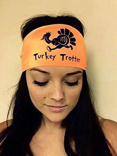 Hippie Runner Turkey Trotter. Thanksgiving.Orange Headband with Black Design. Headbands The #1 Choice for Athletes! No Slip, No Drip Headbands for Running, Walking, Exercise Or Fashion!]()
