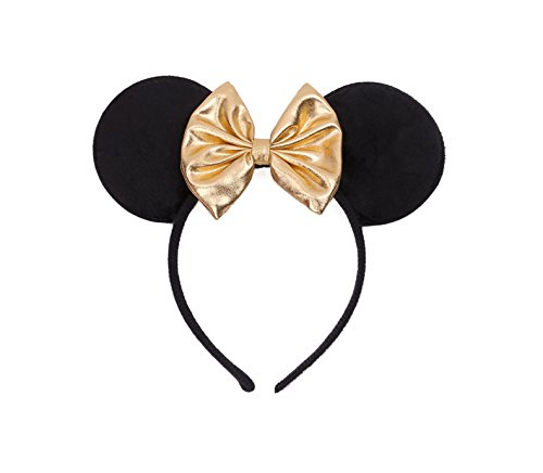 [Rush Dance Mickey Minnie Mouse Birthday Party Favor Bow Accessories Headband (Gold)] (Mickey Dress)