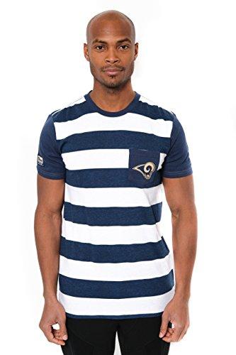 NFL Men's Los Angeles Rams T-Shirt Stripe Pocket Short Sleeve Tee Shirt, X-Large, (Rams Football T-shirt)