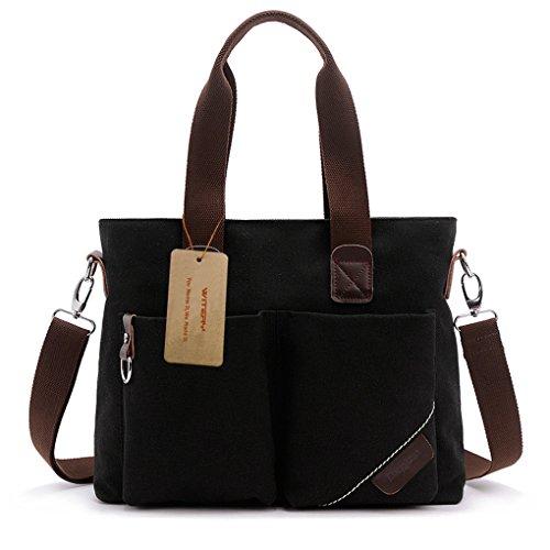 Witery Unisex Vintage Canvas Leather Trim Travel Tote Messenger Bag/Shoulder Handbag/Laptop Bag Black by Witery