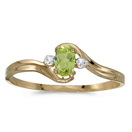 FB Jewels 14k Yellow Gold Genuine Green Birthstone Solitaire Oval Peridot And Diamond Wedding Engagement Statement Ring - Size 7 (1/5 Cttw.) ()