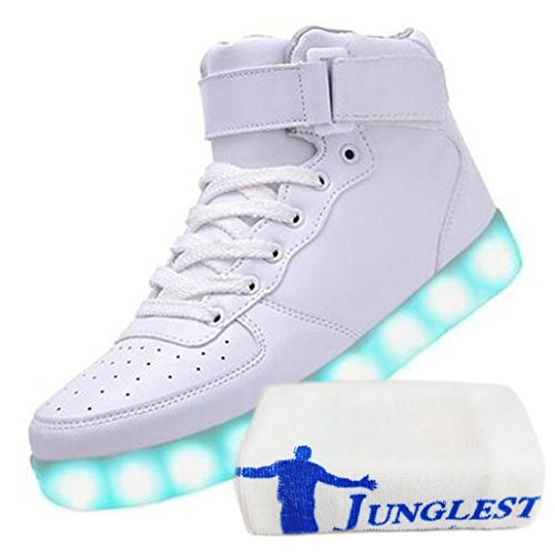 (Présents:petite serviette)JUNGLEST® de Couleur Mode Hith-Top Unisexe Homme Femme USB Charge LED Lumière Lumineux Clignotants Chaussures Blanc