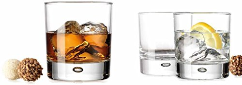 Double Old Fashioned Whiskey Glass (Set of 4) with Chilling Stones - 10 oz Heavy Base Rocks Barware Glasses for Scotch, Bourbon and Cocktail Drinks by Bar Essentials (Image #1)