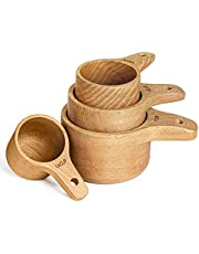 Paincco Wood Measuring Cup Set of 4, Handcrafted with Wood Polish Finish - Wooden Measuring Cups for baking & cooking