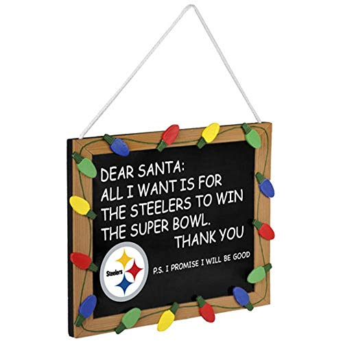 Forever Collectibles FBHOLIFBPITCS Pittsburgh Steelers Holiday Chalkboard Sign, Multicolor