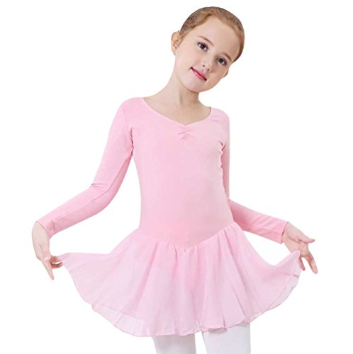 YouPue Bodys Ballettkleid Mädchen Lange Ärmel Ballett Turnanzug Tutu Gymnastikanzug Leotards Ballettkleid Ballettanzug Kinder Rosa