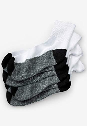Kingsize Men's Big & Tall 3-Pack 1/4 Length Cushioned Crew Socks, White ()