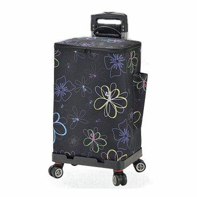 ショッピングカート カート 高さ調節 保冷 保温 4輪 バレンチノ ヴィスカーニ B078W18HSG15-黒/花柄