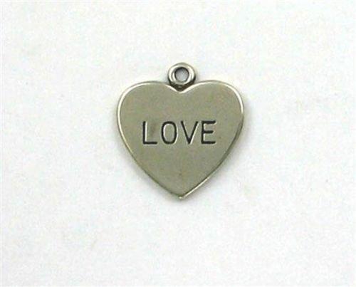 (Sterling Silver Love Heart Flat Backed Charm - Jewelry Accessories Key Chain Bracelet Necklace Pendants)