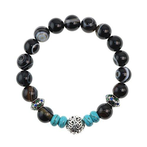 Jan Dee Natural Sardonyx Turquoise Semi Precious Gemstone Bracelet 10mm