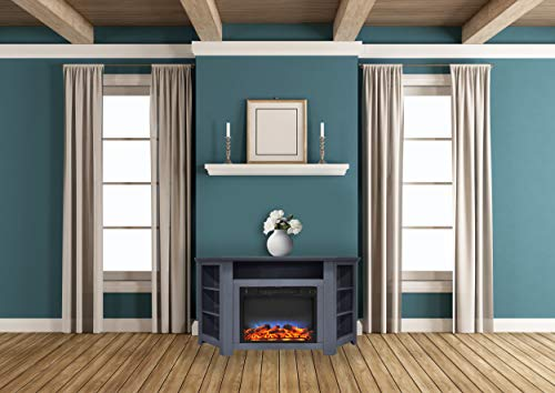 Cheap CAMBRIDGE Stratford 56 in. Electric Corner Fireplace in Slate Blue with LED Multi-Color Display Black Friday & Cyber Monday 2019