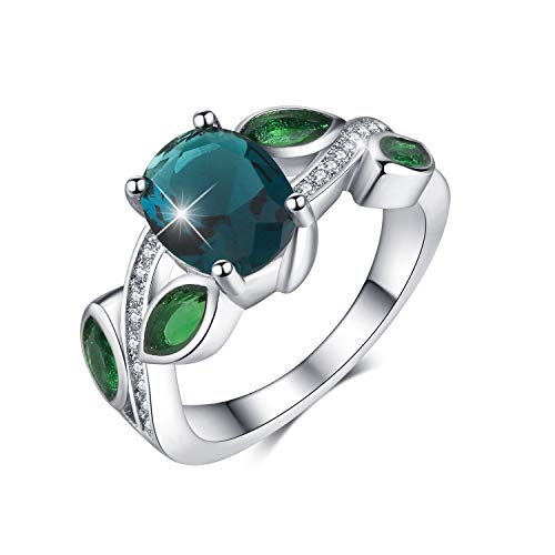 Madeone ✦ 18K White Gold Plating Excellent Cut CZ Stone Rainbow Gemstone Topaz & Emerald Ring Wedding Engagement Ring for Women with Box Packing Size 6-10 (Peacock Blue, 6)