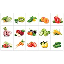 OUNONA Kitchen Stickers Anti-oil Paste Waterproof Removable Wall Stickers Decals Wallpaper Tile Decor(Vegetable Fruit )