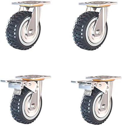 ヘビーデューティー産業輸送ホイール、ポリウレタンスイベルキャスター4/5/6/8インチ、負荷容量600キロ/ 1300lb(ブレーキ付きで2つ、ブレーキなしで2つ)