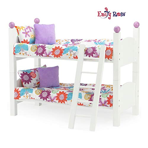 "18 Inch Doll Furniture for American Girl Dolls | Doll Bunk Bed - 2 Single Stackable 18 Inch Doll Beds | Doll Bunk Bed Includes 2 Sets of Colorful Bedding & Ladder | Fits 18"" American Girl Dolls"