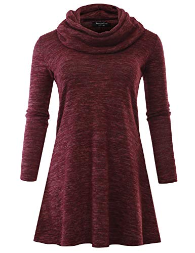 A.F.Y Women's Marled Cowl Neck Long Sleeve Tunic Sweater Dress Burgundy Medium
