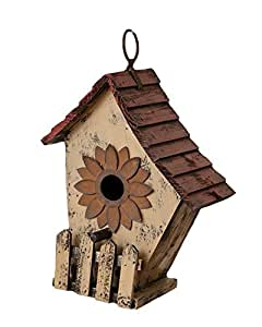 Your Heart's Delight Sunflower Birdhouse, 7 By 8-1/2 By 3-3/4-inch, Tan/burgundy