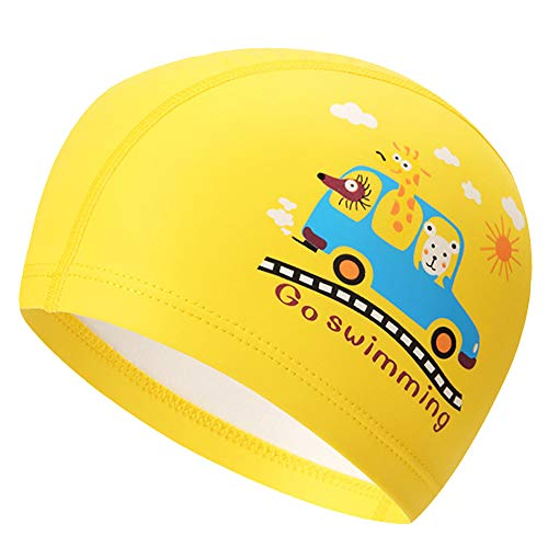 Peacoco Lycra Swim Cap PU Swimming Cap for Kids Girls Boys and Youth Waterproof Swim Caps Protective Ear Caps-Keep Long Hair Dry-Training and Racing-Yellow