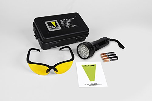 ShoppingLion 51 LED UV Flashlight with UV Glasses, Duracell Batteries Included, Pet Urine Detector, Blacklight Torch