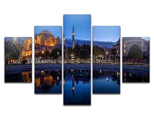 Ahmed Mosque Sultan (Yatsen Bridge Painting for Living Room Modern Mosque Islamic Wall Art Prints Blue Night Sultan Ahmed Istanbul Pictures on Canvas Home Decor Gift Stretched and Framed Ready to Hang 70''W x 40''H)