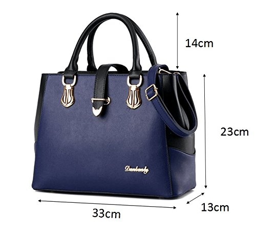 Blue with Shoulder C Tibes Ladies Leather PU 1 Handbag Strap xxaq8I