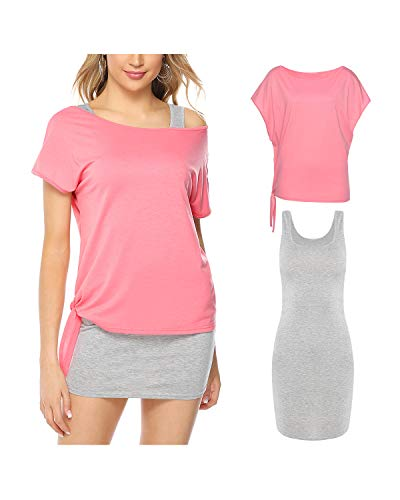 - Hawiton Women Summer Outfits 2 Piece Dresses Casual Loose Shirt Top Bodycon Mini Tank Dress