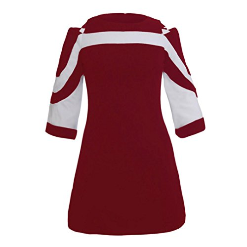 Rouge Hauts Manches 4 3 Epaule Printemps Dnud lgant Chic Mode robe SANFASHION 2018 Femme Fille gxUa76