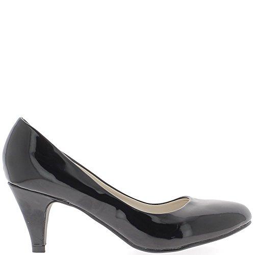 Escarpins femme noirs vernis à petits talons de 6,5cm