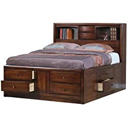 Coaster Walnut Storage Bookcase Bed in Warm Brown Finish - King
