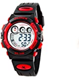 Multifunction water-proof sport digital watch with alarm stopwatch for boys and girls /red