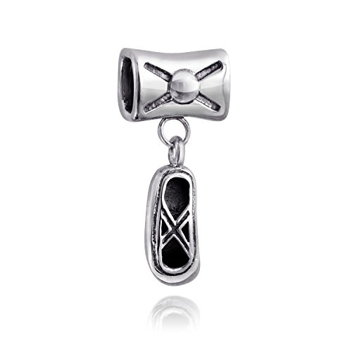 Ballerina Slipper Charm (Bling Jewelry Bow Ballerina Slipper Silver Barrel Charm Bead)