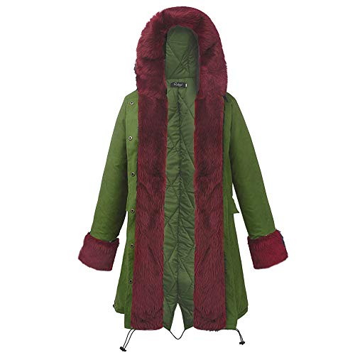 Long Femme Fourrure En Léopard À Amuster Rouge Capuche Femmes Coton Manteau Pour wXYRt