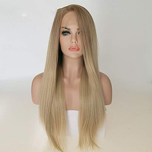 Amazon.com : Lady night Blonde Hair Long Silky Straight Ombre Lace Front Wig Glueless Dark Root Synthetic Wigs : Beauty