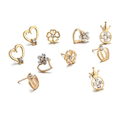 30 Pairs Stainless Steel Mixed Color Cute Animals Disco Ball Star Love Heart Crown Stud Earrings Set for Women Girls,hypoallergenic (30 Pairs Stud Earring Set) by Fsmiling (Image #4)'
