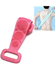Silicone Back Scrub, Bath Shower Body Brush Double Sided Bath Brush Belt Exfoliating Silica Gel Bath Rub Brush for Men and Women Dead Skin Removal