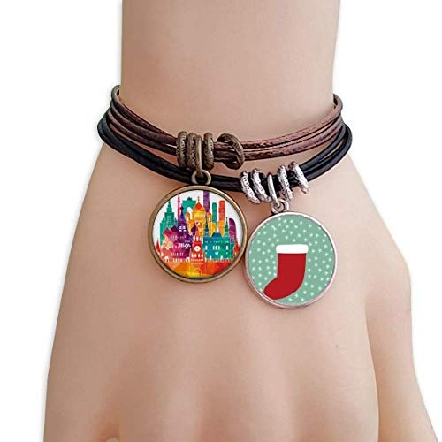 DIYthinker Moscow Cathedral Painting Russia Christmas Stock Bracelet Leather Rope ()