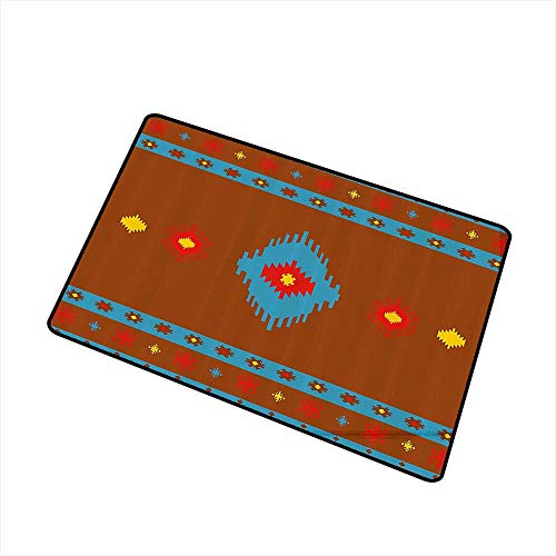 Outdoor Door mat Native American Ethnic Geometric Design Aztec Inca Tribal Cultural Artwork W24 xL35 Country Home Decor Dark Orange Aqua Red