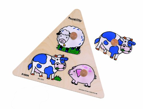 Small World Toys Ryan's Room Wooden Puzzle -Triangle Shaped  Farm