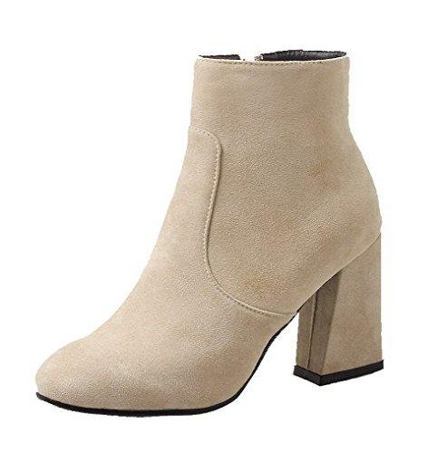 VogueZone009 Damen Hoher Absatz Mattglasbirne Reißverschluss Stiefel, Cremefarben, 34